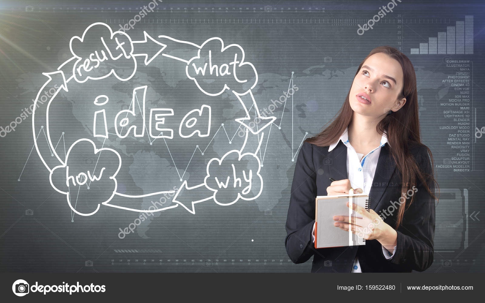Creative ideas concept, beautiful businesswoman writing in notebook