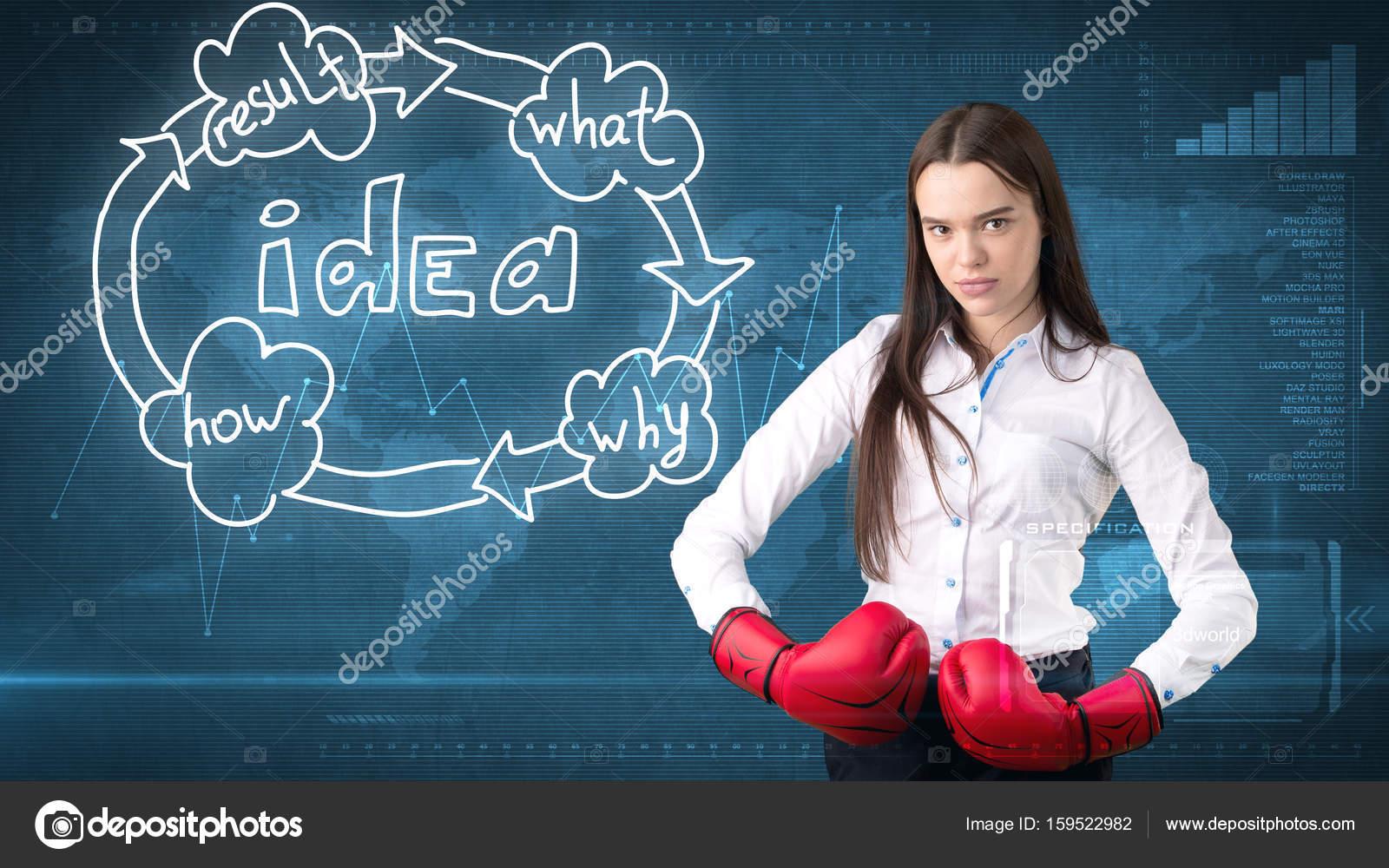 Idee Pose Fotografiche : Kreative ideen konzept malte boxen geschäftsfrau stehend auf