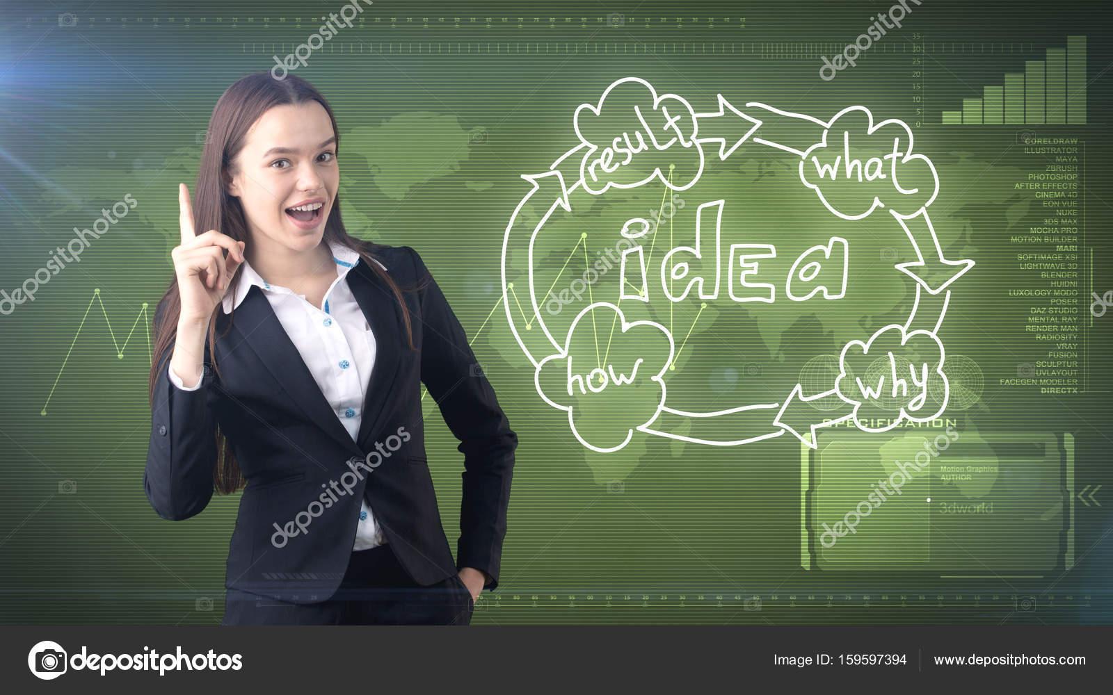 Creative ideas concept, beautiful businesswoman standing on studio