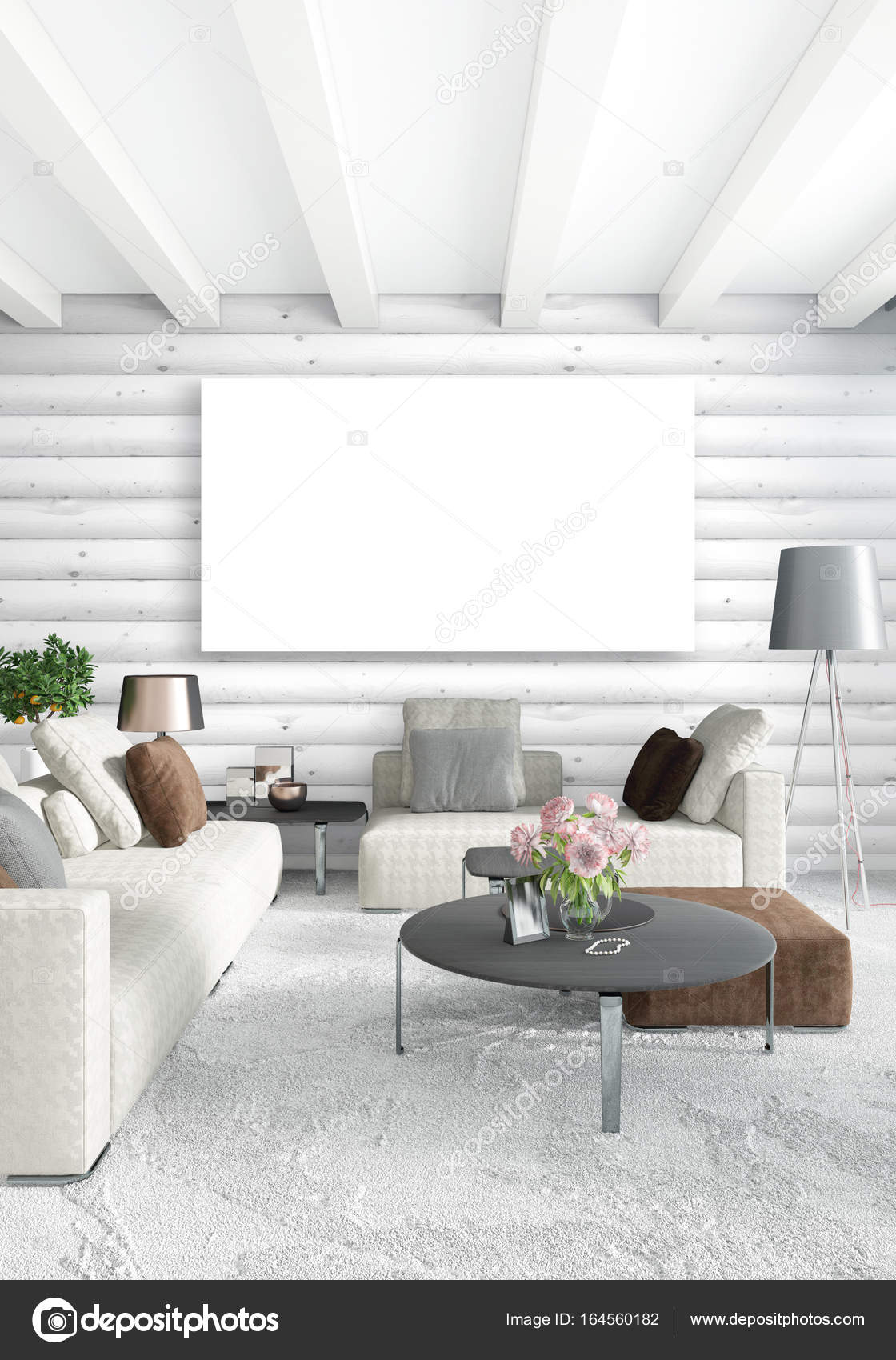 Weiße Schlafzimmer minimal Raumgestaltung mit Holz Wand und Exemplar ...