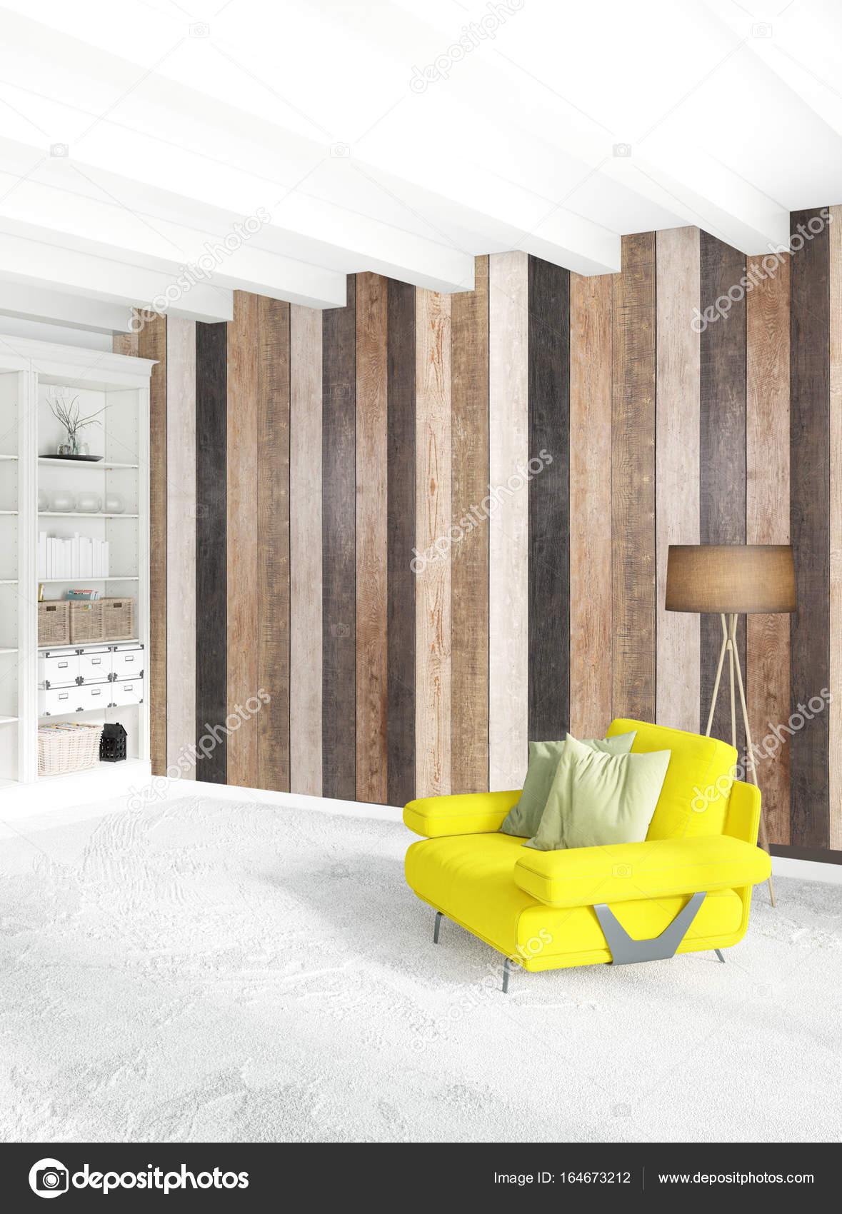 Cloison en bois décoration chambre minime, un canapé jaune ...