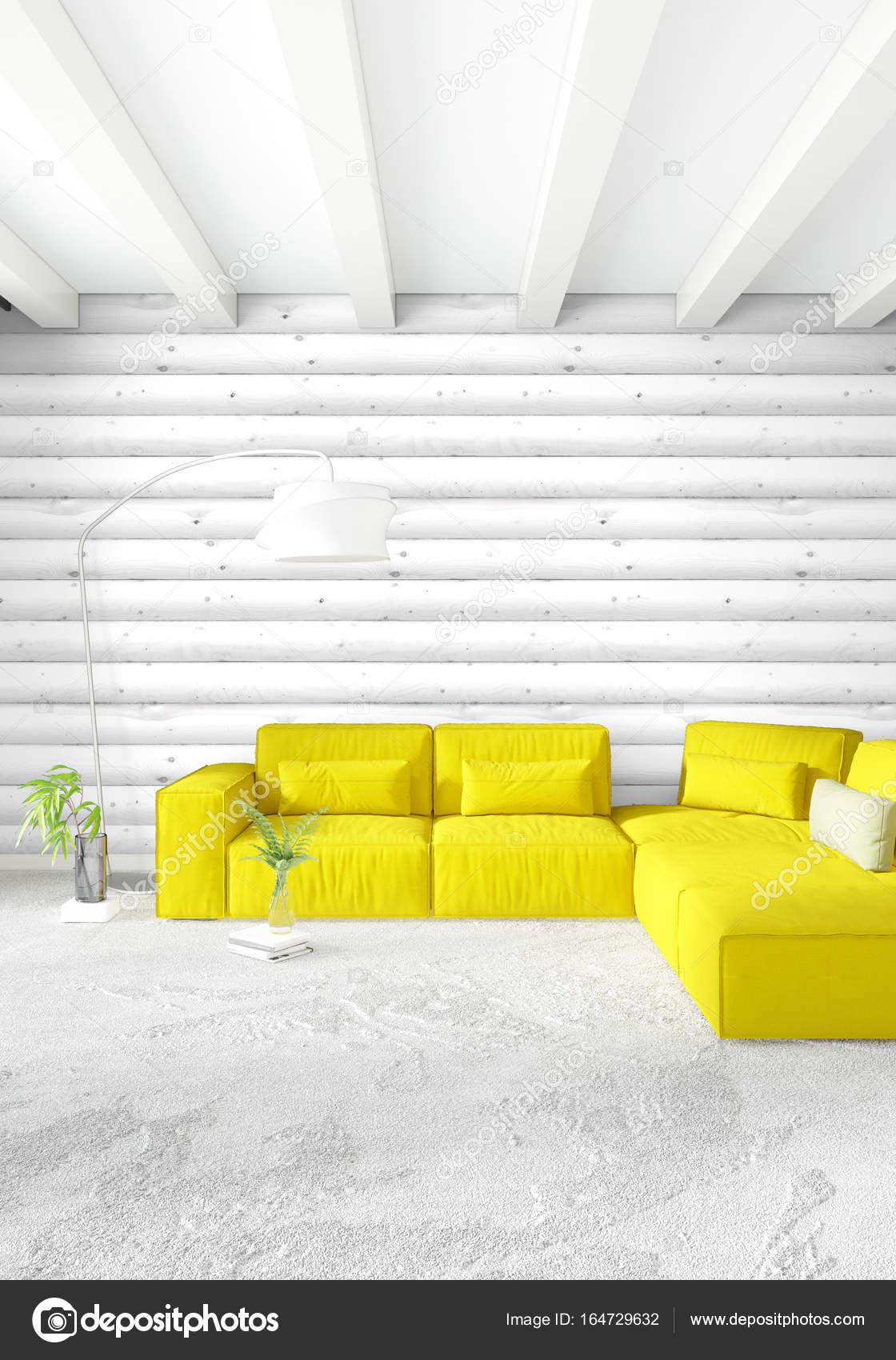 Minimale Schlafzimmer Innenarchitektur Holz Wand, gelbe Sofa und ...