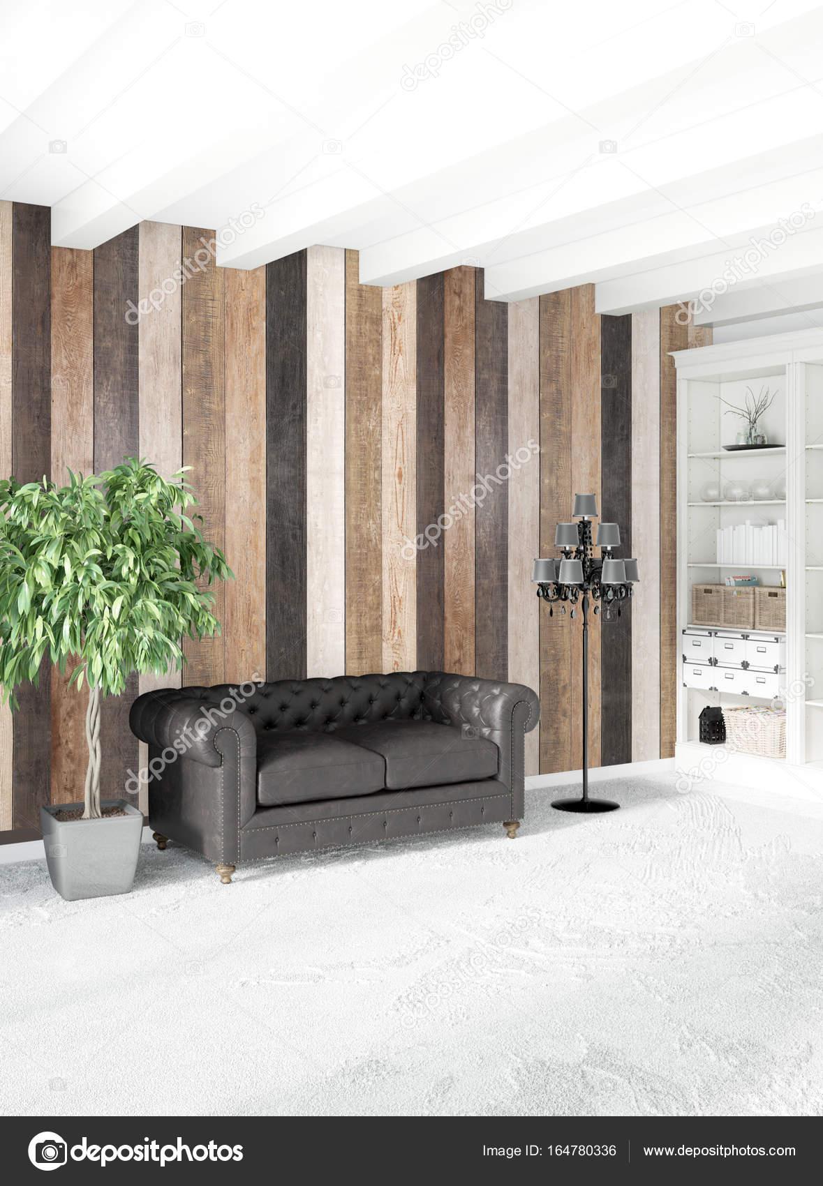 Style Minimal De Chambre Blanche Décoration Murale Bois Et Canapé