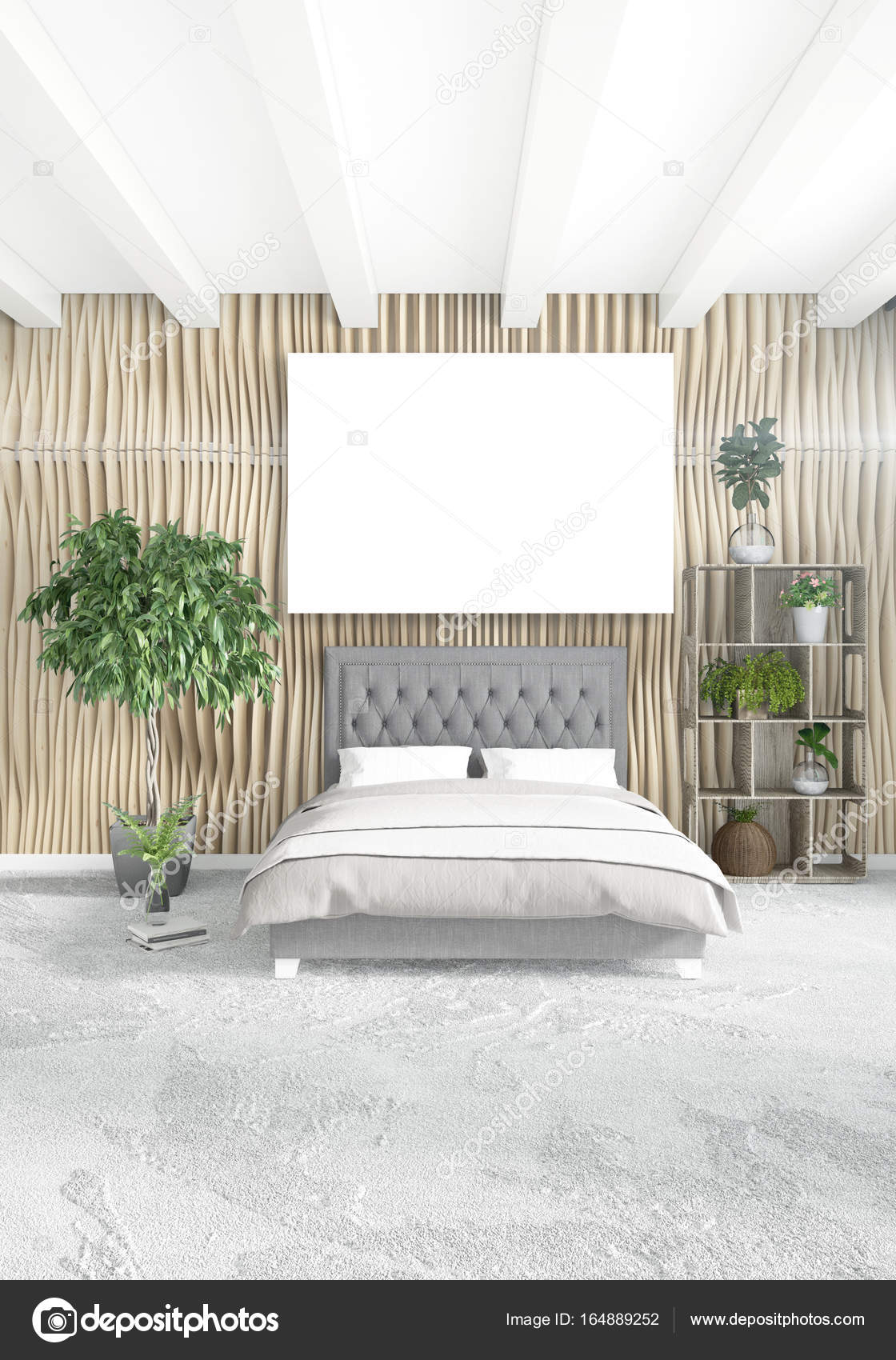 Vertical modern interior bedroom or living room with eclectic wall ...
