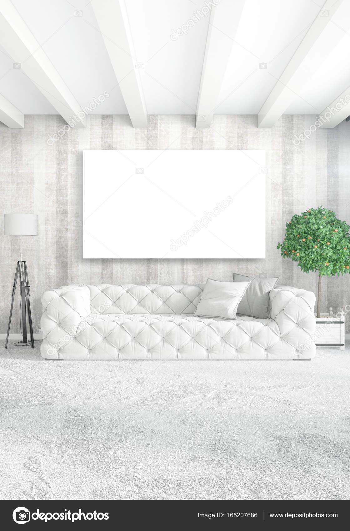 Vertikale Modernen Interieur Schlafzimmer Oder Wohnzimmer Mit Vielseitigen  Wand  Und Leeren Rahmen Für Exemplar Zeichnen