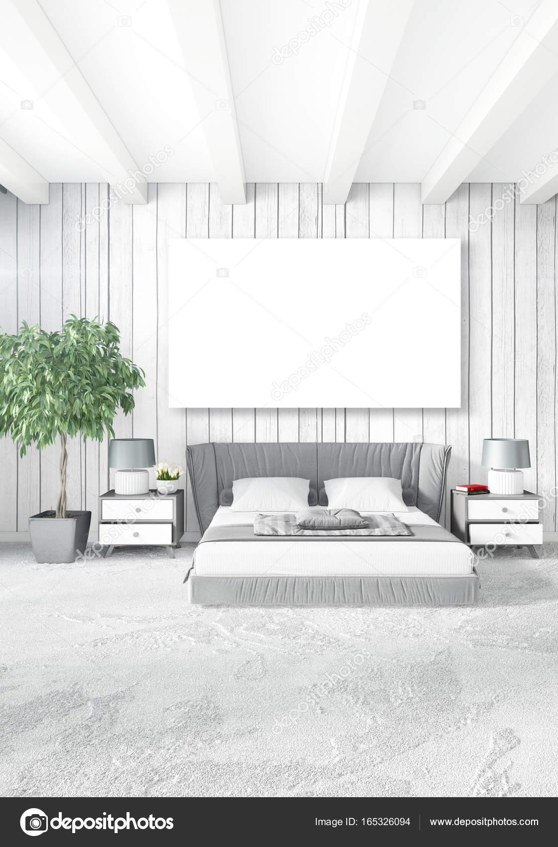 Modernes Design Loft Innen Schlafzimmer Oder Wohnzimmer Mit Vielseitigen  Wand Mit Raum. 3D Rendering U2014 Foto Von Elsar77