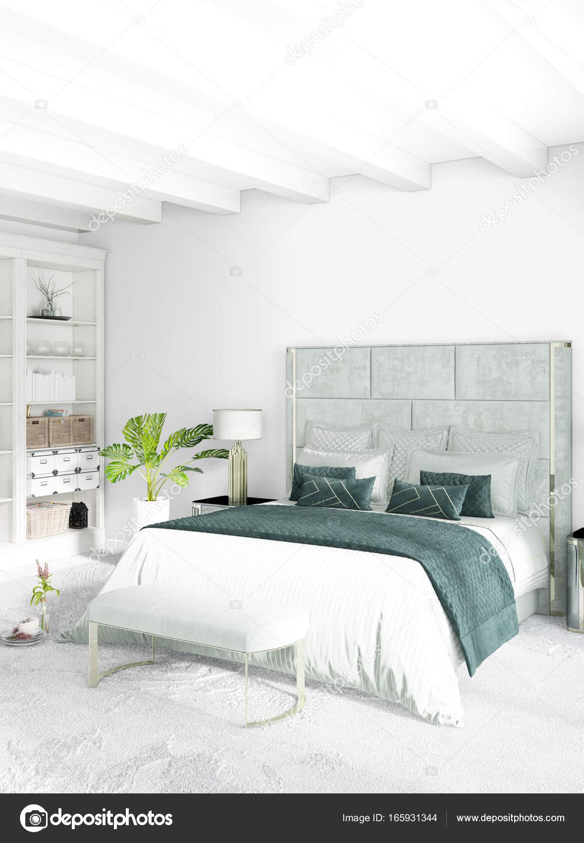 Minimale vertikale Schlafzimmer oder Loft-Style Interior Design. 3D ...