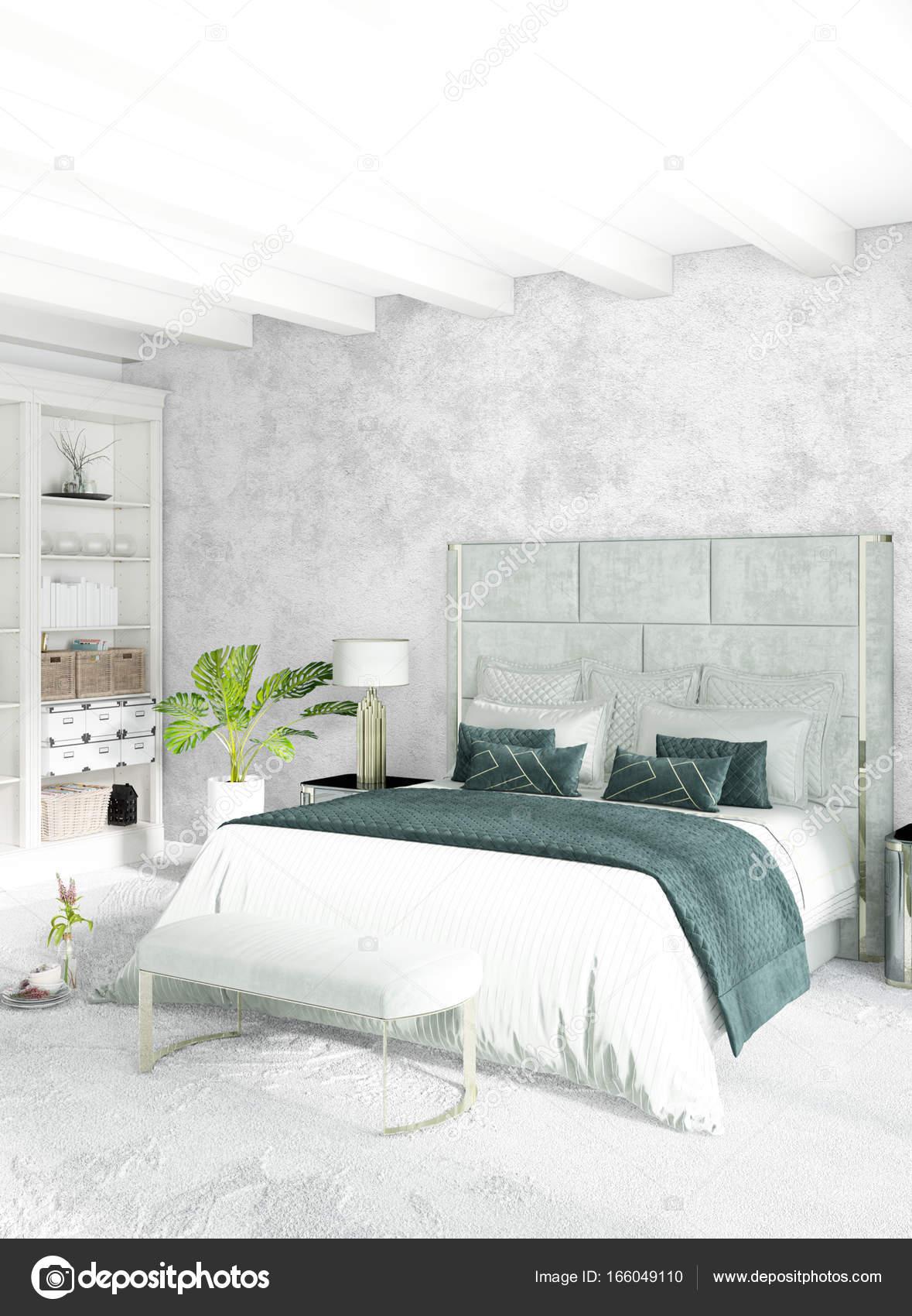 Minimale vertikale Schlafzimmer oder Loft-Style Interior ...