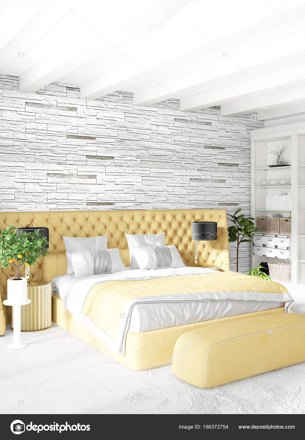 Style minimal de chambre blanche décoration murale bois et canapé ...