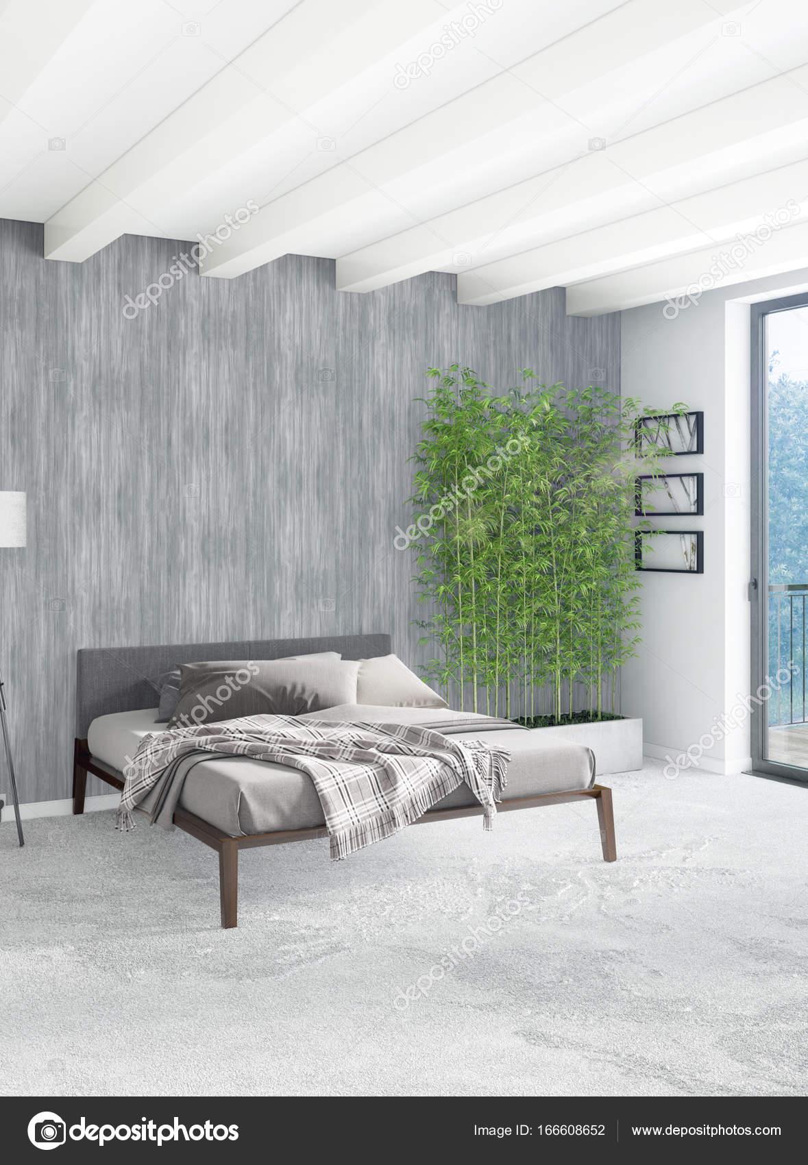 Weiß Minimal Modern Schlafzimmer Oder Loft Style Interior Design. 3D Rendering.  3D Illustration U2014 Foto Von Elsar77