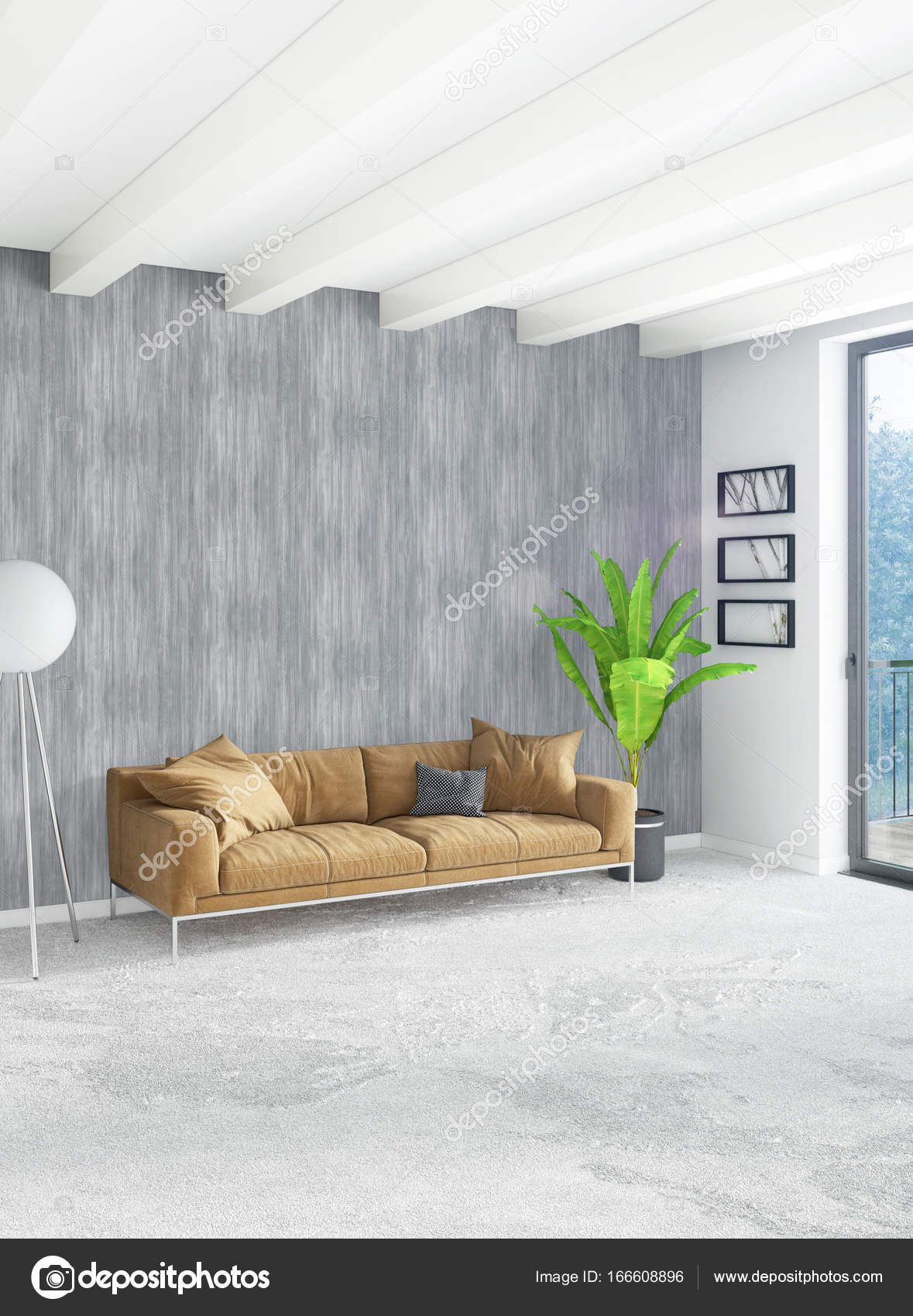 Wit slaapkamer minimalistische stijl interieur met houten muur en ...