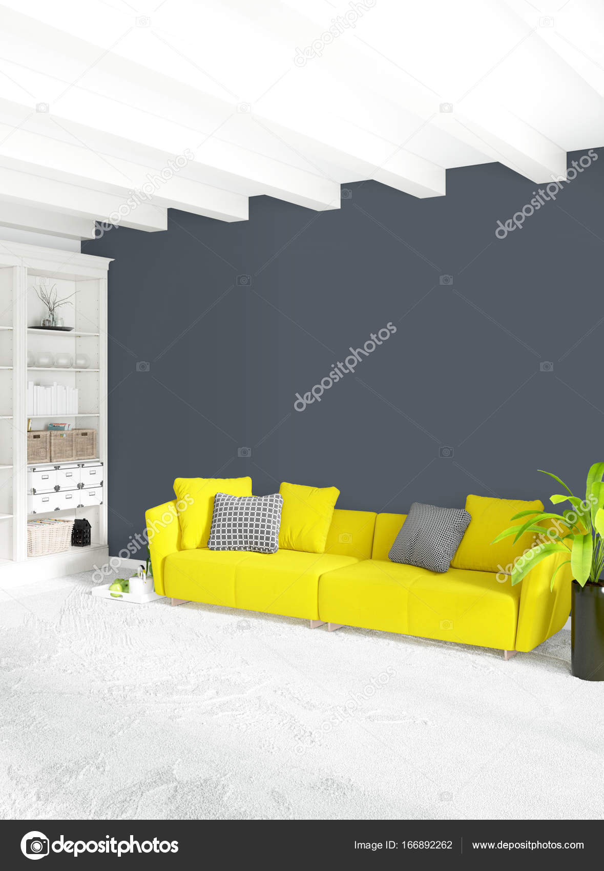 Modern Bedroom Yellow Sofa Luxury Minimal Style Interior Loft Design With  Eclectic Wall. 3D Rendering