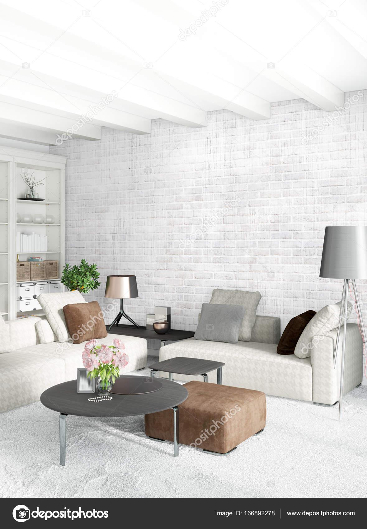 wei e schlafzimmer minimalistischen stil raumgestaltung mit holz wand und grauen sofa 3d. Black Bedroom Furniture Sets. Home Design Ideas