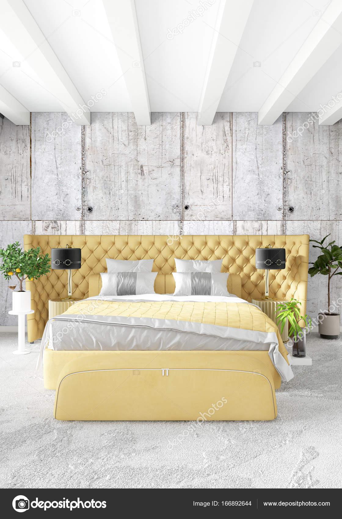 Camera da letto moderna giallo divano lusso stile minimal loft ...