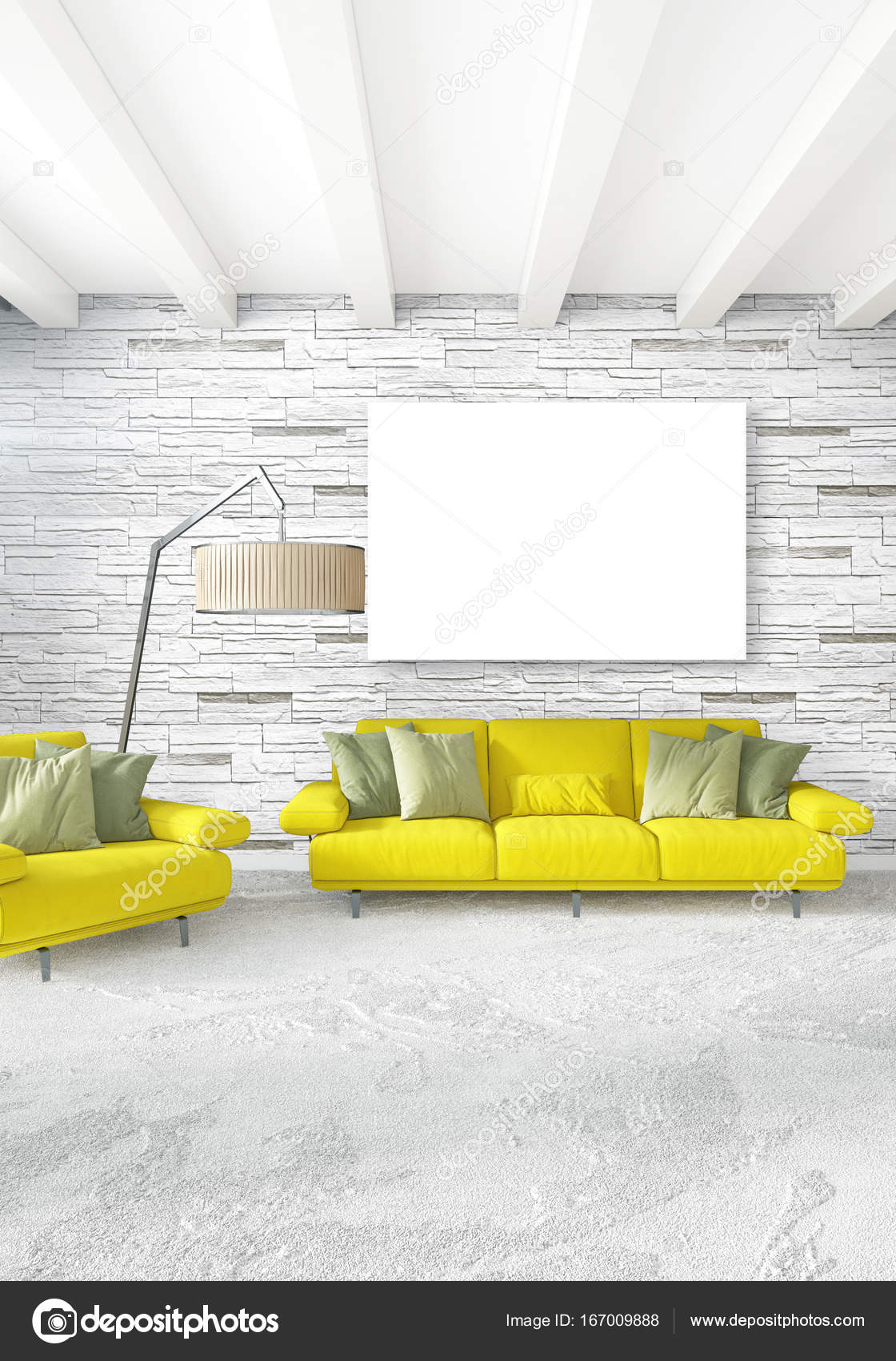 White bedroom minimal style interior design with wood wall and grey sofa 3d rendering