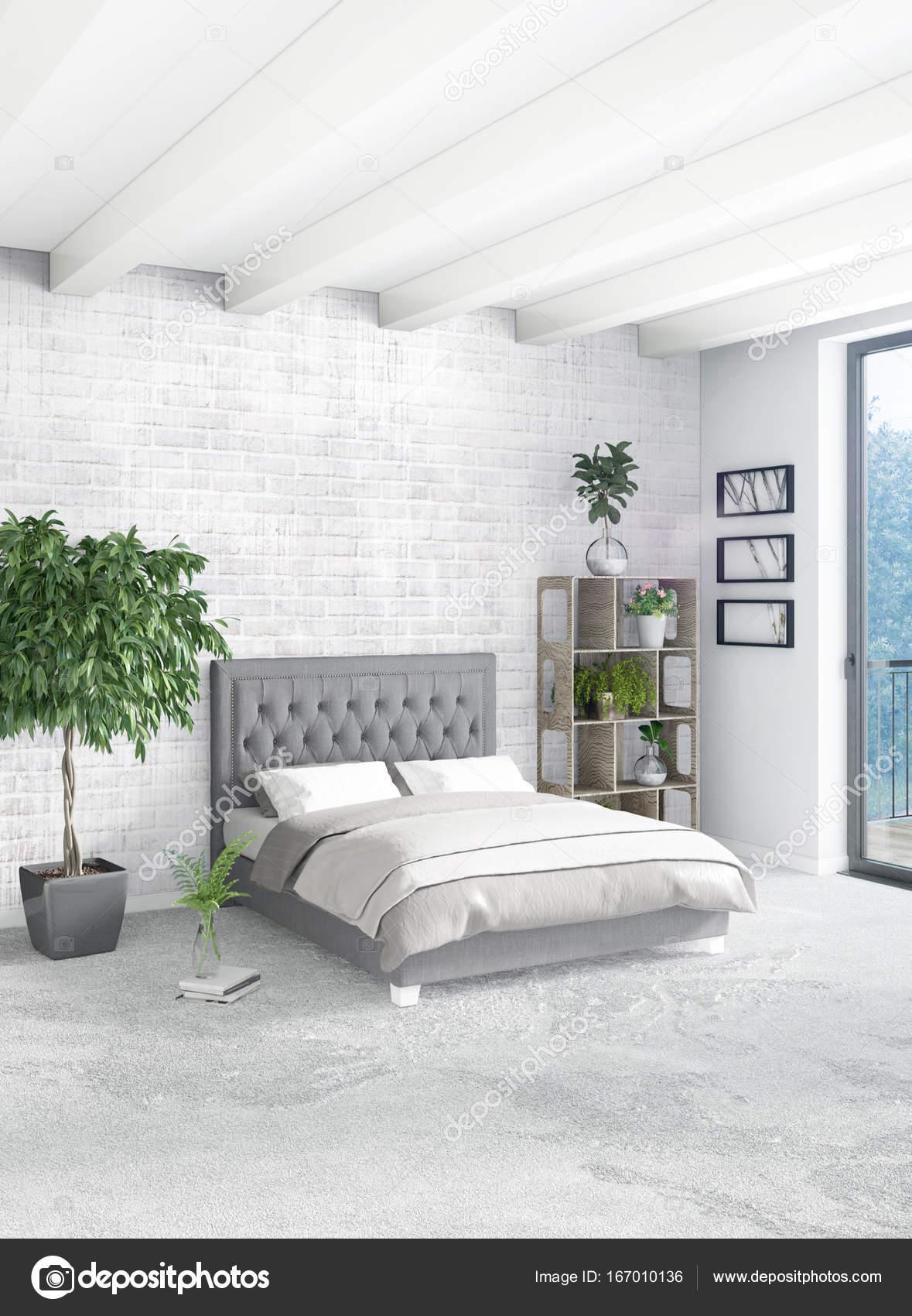 Style minimal de chambre blanche décoration murale bois et ...