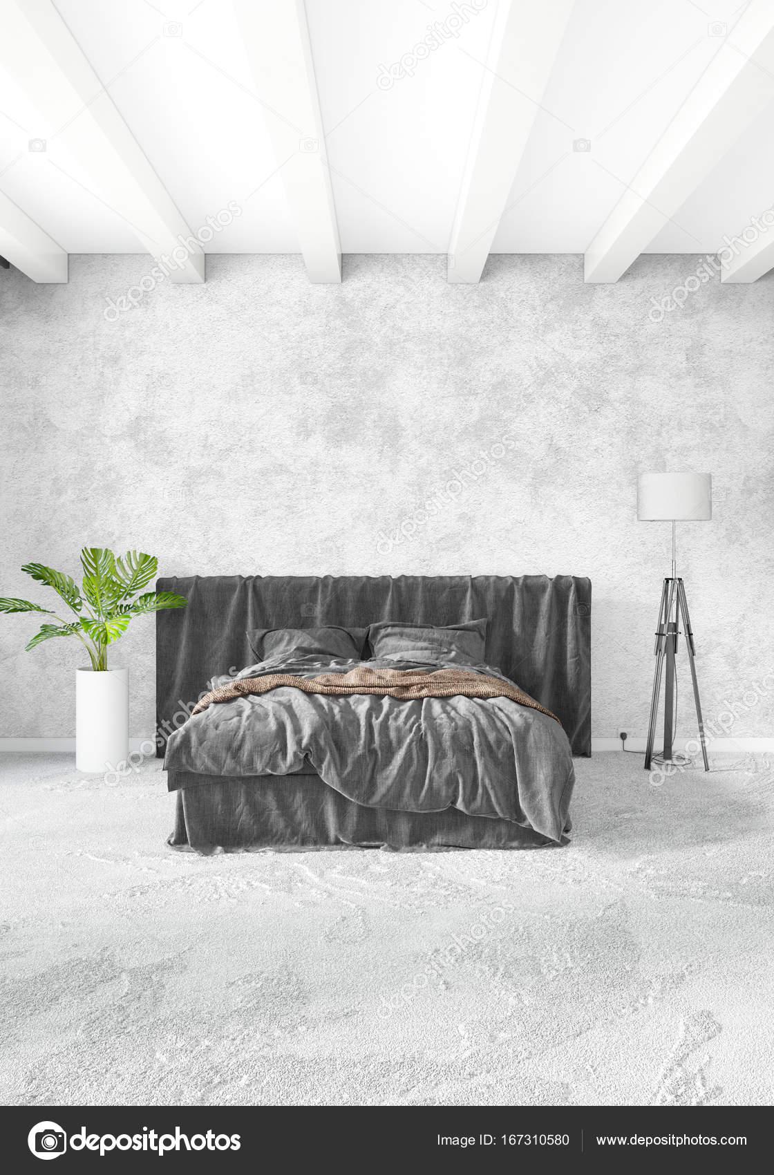 Weiße Schlafzimmer minimalistischen Stil Raumgestaltung mit Holz ...
