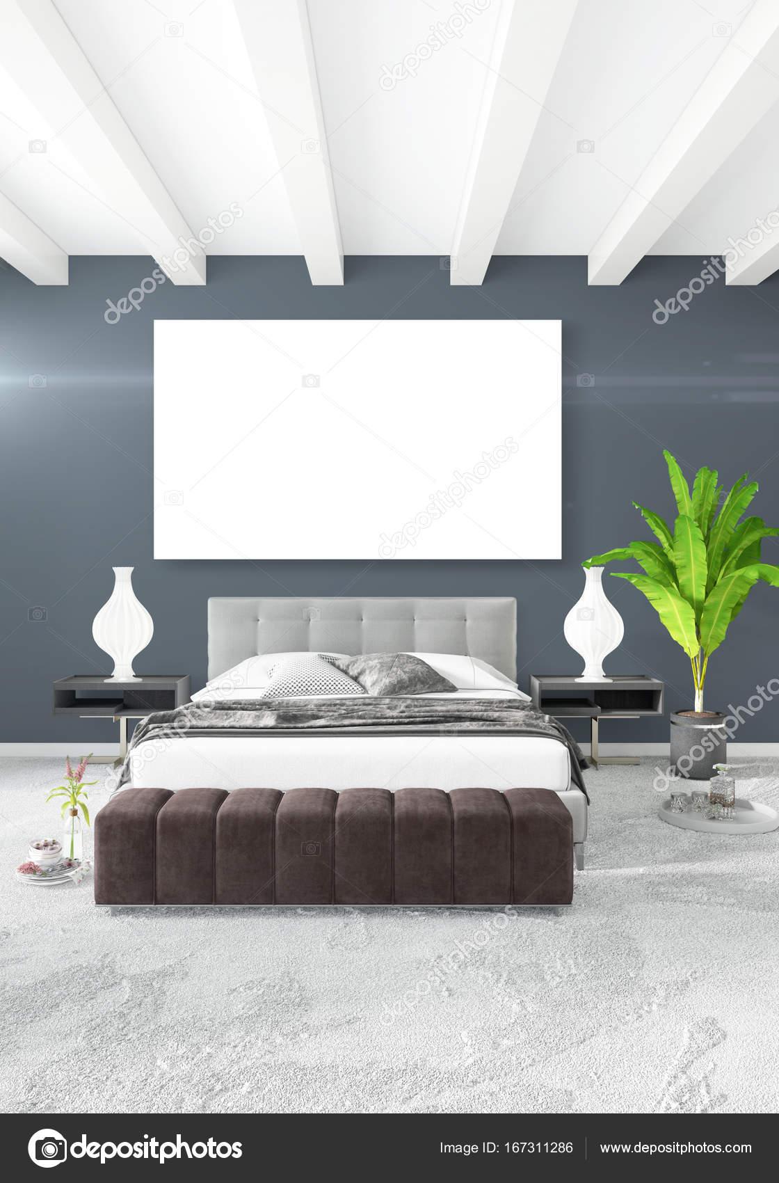 wit slaapkamer minimalistische stijl interieur met houten muur en grijze bank 3d rendering