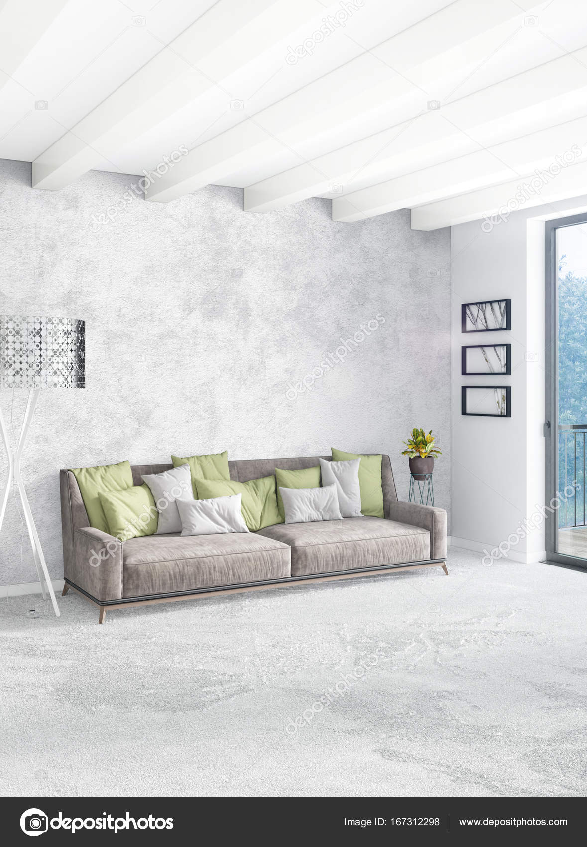 Stile minimal design con parete in legno e divano grigio di camera ...
