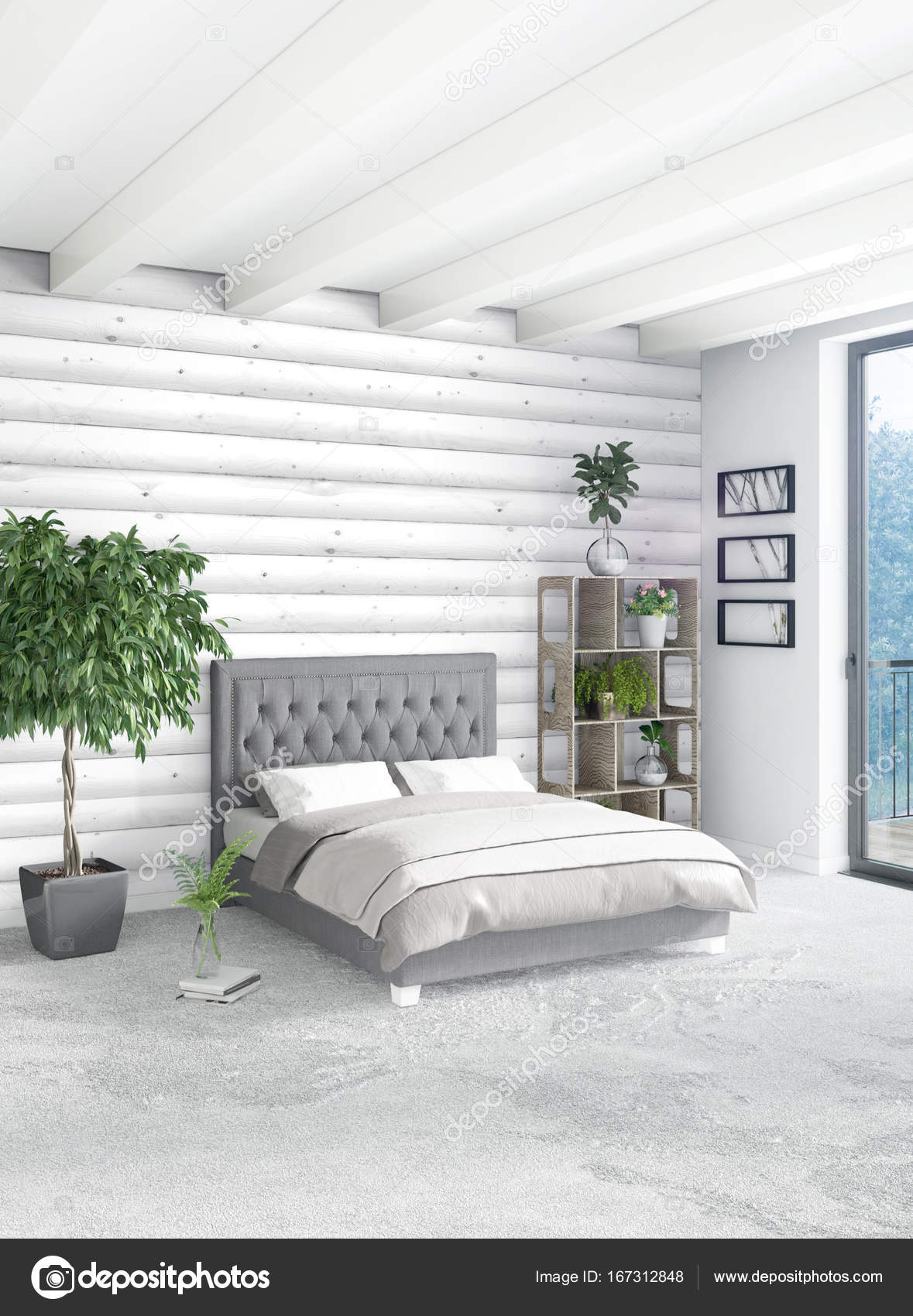 Style Minimal De Chambre Blanche Decoration Murale Bois Et Canape