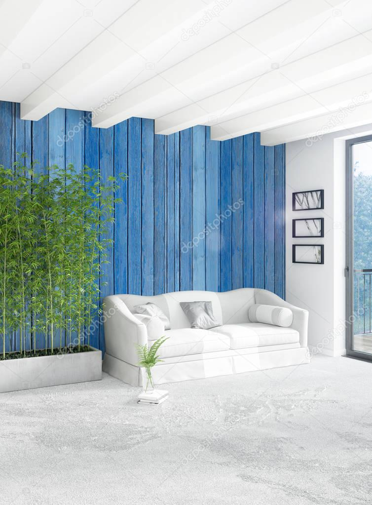 style minimal de chambre blanche d coration murale bois et canap gris rendu 3d photographie. Black Bedroom Furniture Sets. Home Design Ideas