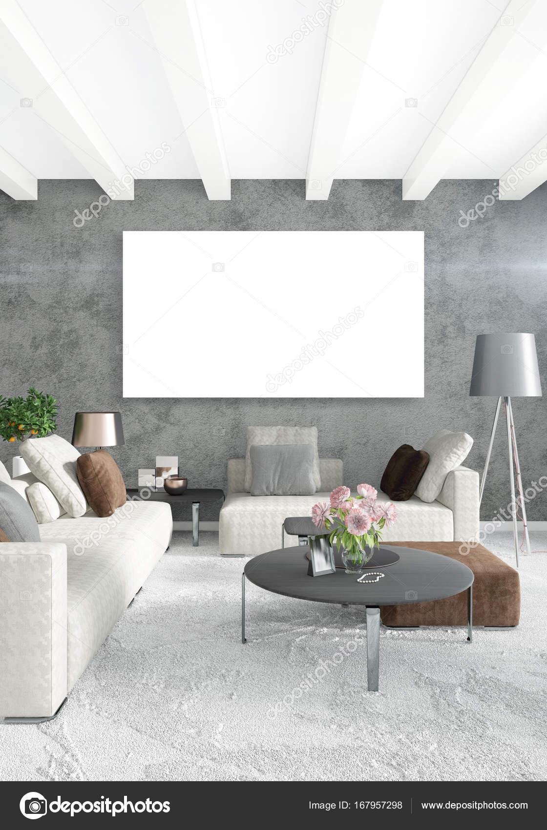 Weiße Schlafzimmer oder Wohnzimmer Minimalstil Interior Design mit ...