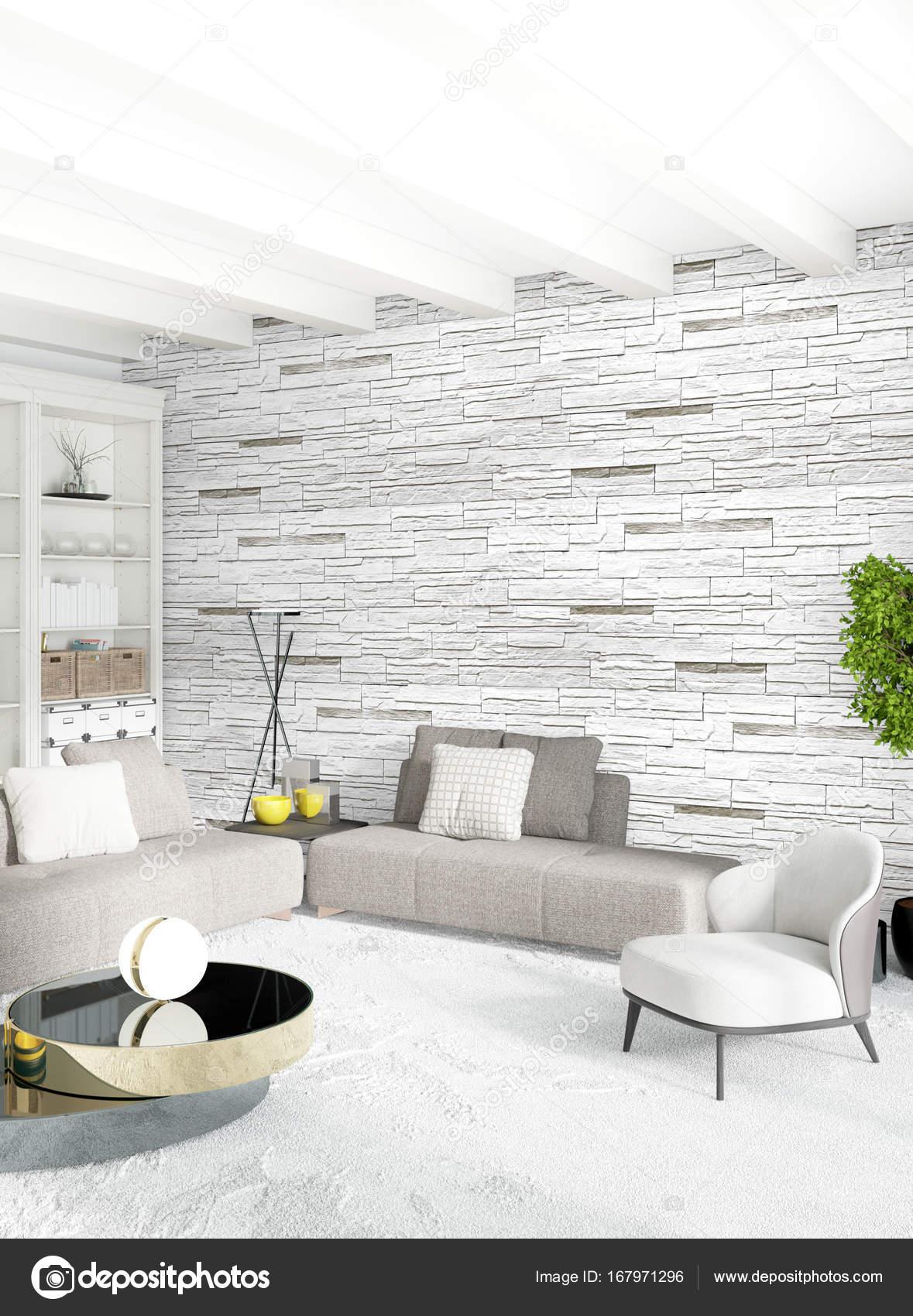 Camera da letto o soggiorno stile minimal interior design bianco con ...