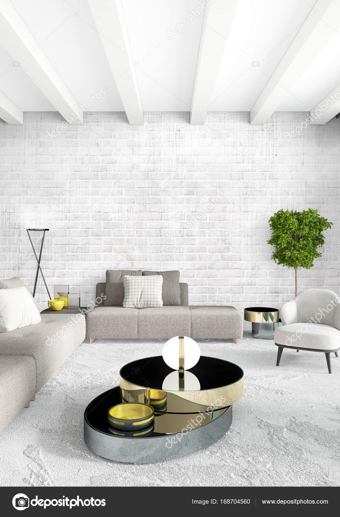 Chambre Loft En Design Du0027intérieur De Style Moderne Avec Paroi Du0027éclectique  Et Canapé élégant. Rendu 3Du2013 Images De Stock Libres De Droits