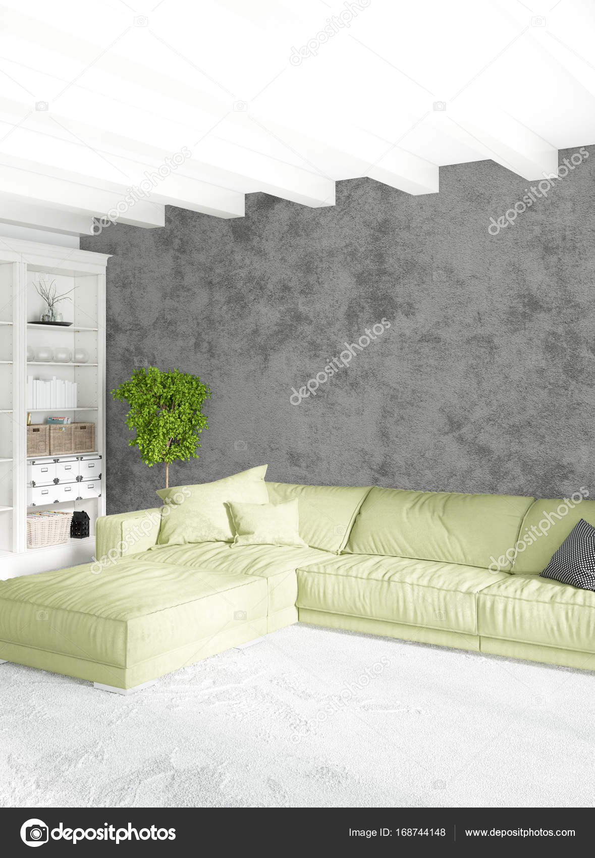 Loft Bedroom Or Living Room Minimal Style Interior Design With Eclectic  Wall And Stylish Sofa. 3D Rendering. U2014 Photo By Elsar77