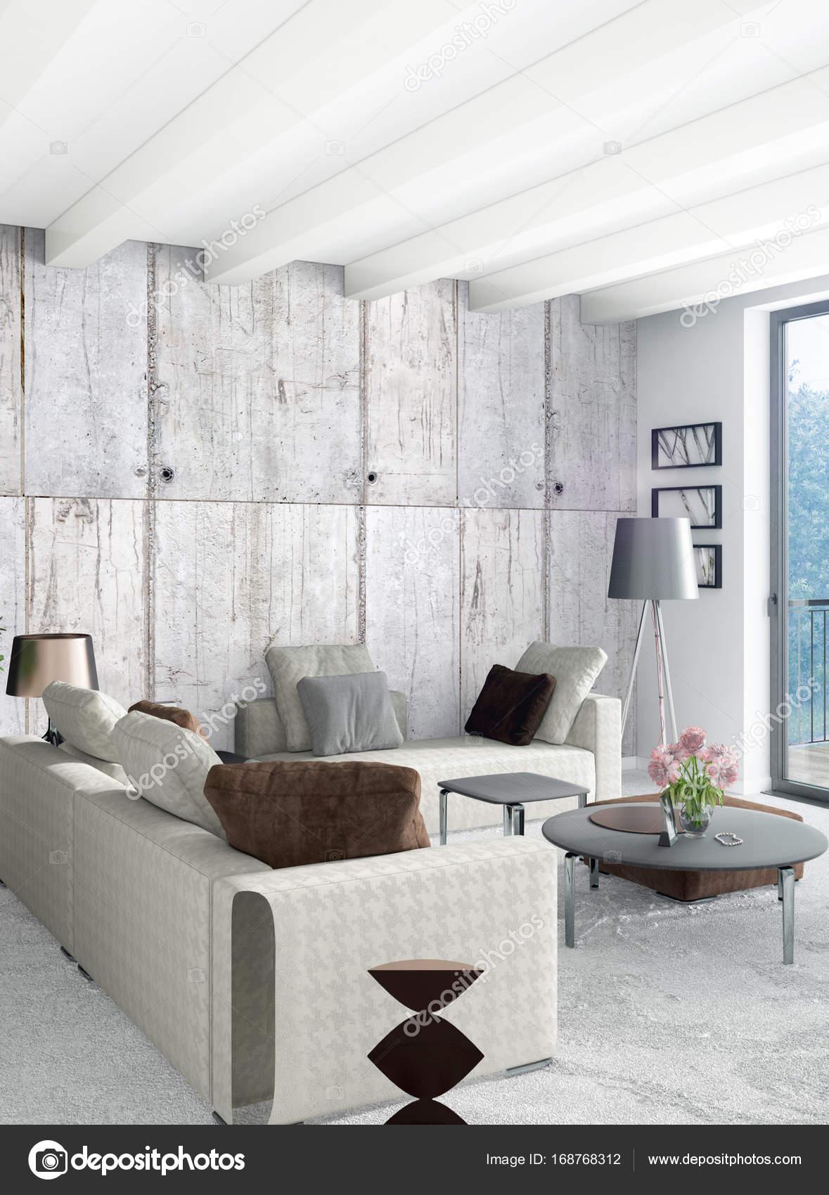 Loft slaapkamer in moderne stijl interieur met eclectische muur en ...