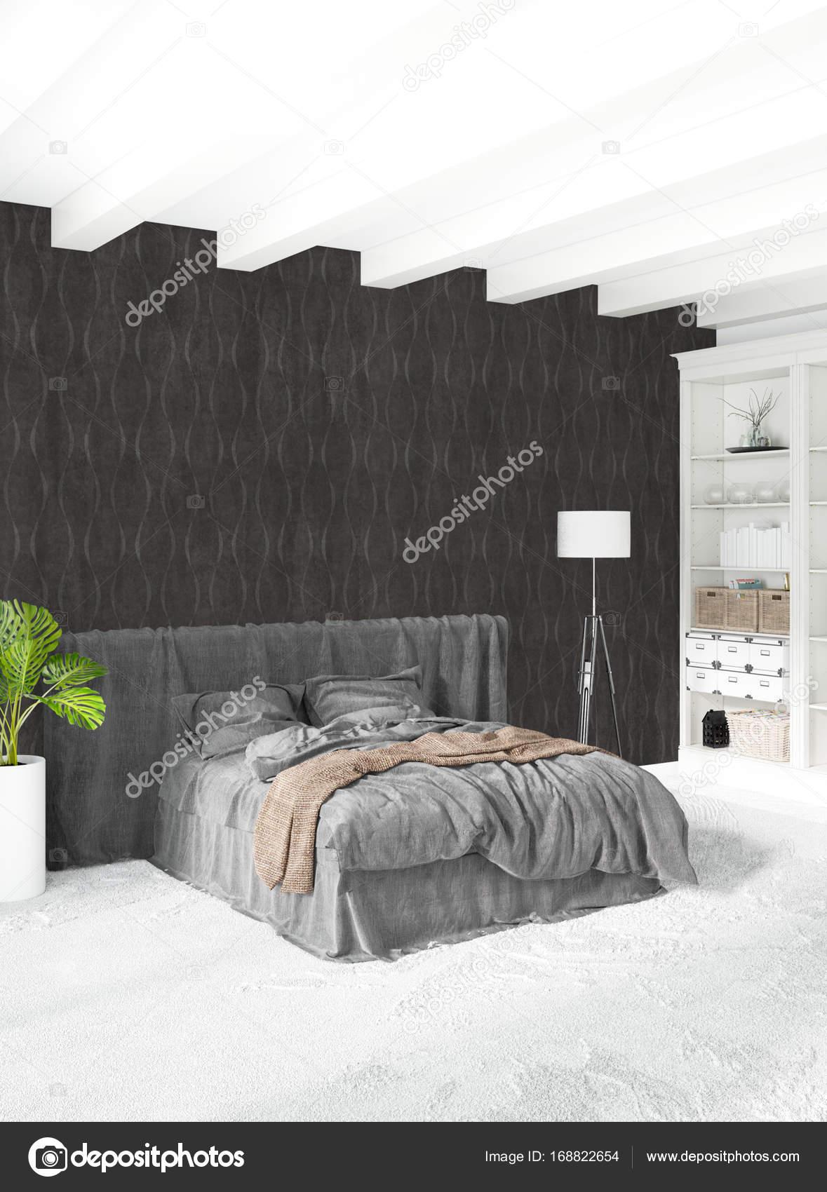 Loft Schlafzimmer Im Modernen Stil Interior Design Mit Vielseitigen Wand   Und Stilvolle Sofa.
