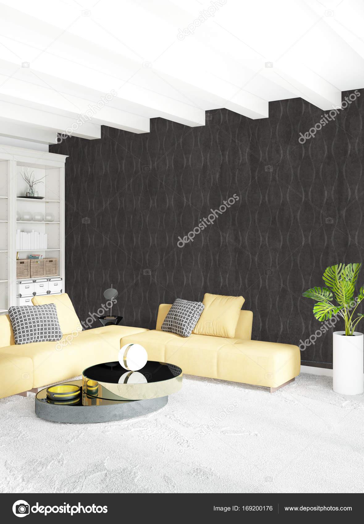 Gelbe Schlafzimmer oder Wohnzimmer im modernen Stil Raumgestaltung ...