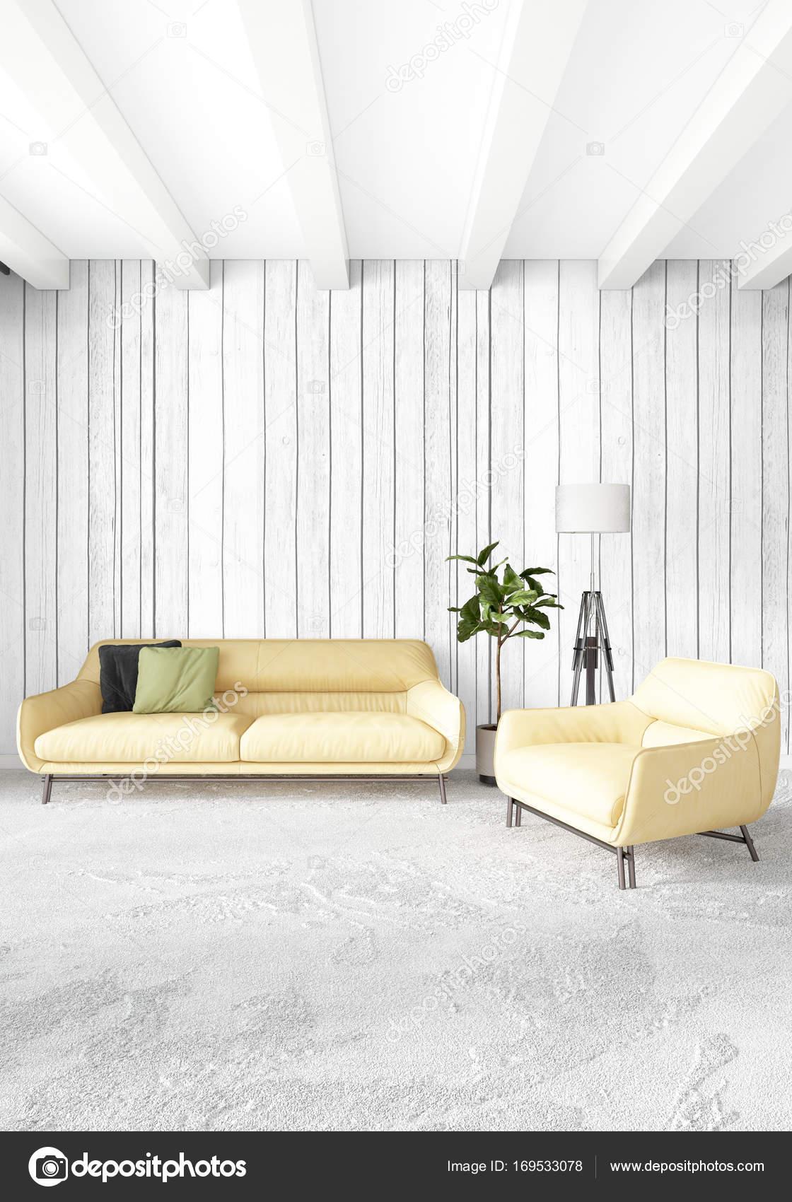 Gele slaapkamer of woonkamer in moderne stijl interieur met ...