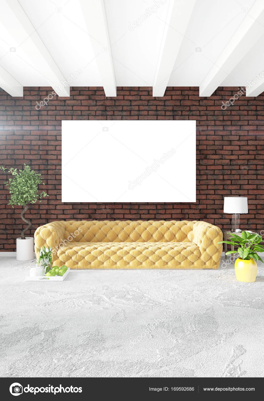 Chambre jaune ou salon en style moderne, design d\'intérieur avec son ...
