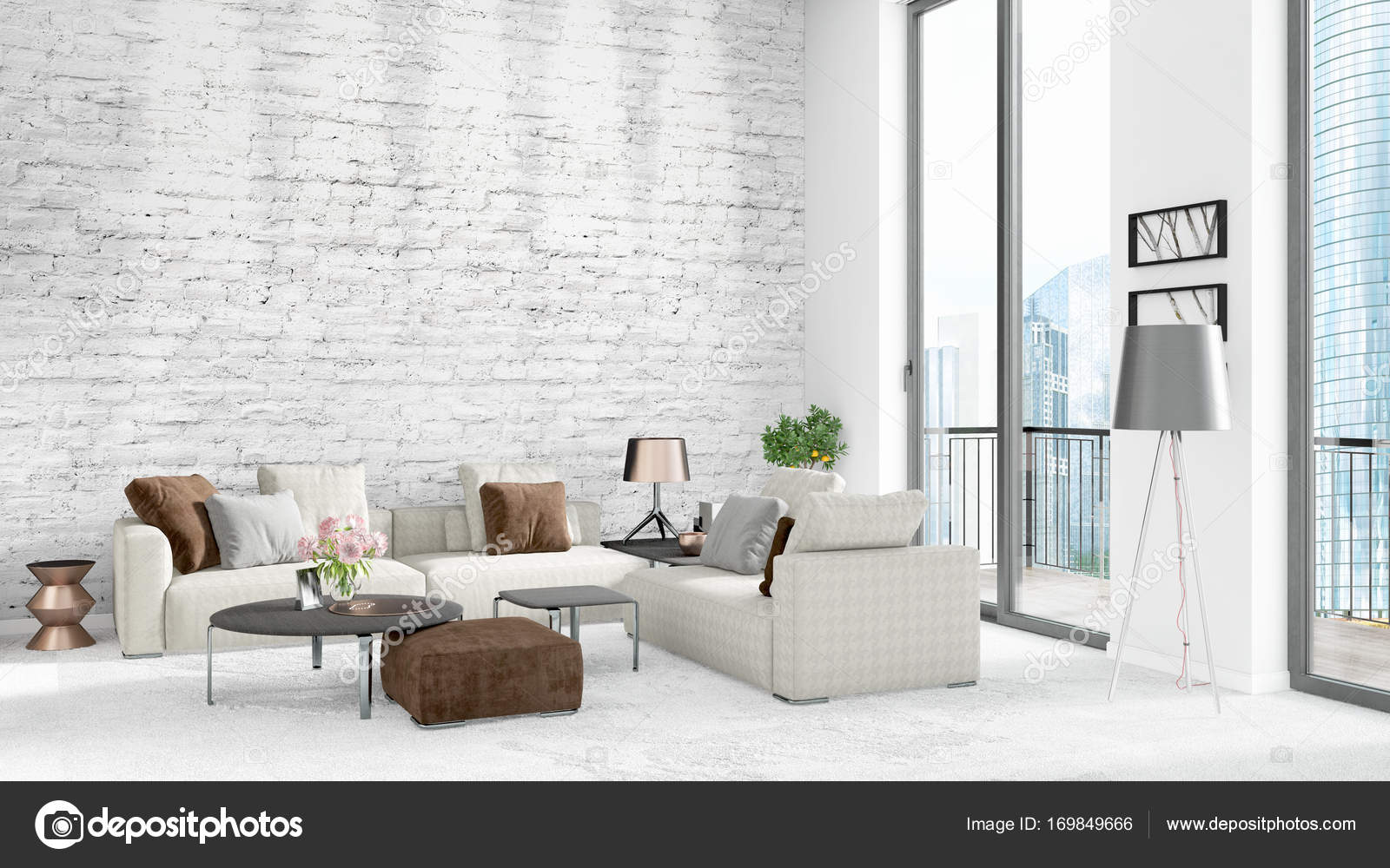 Brand new white loft bedroom minimal style interior design with ...