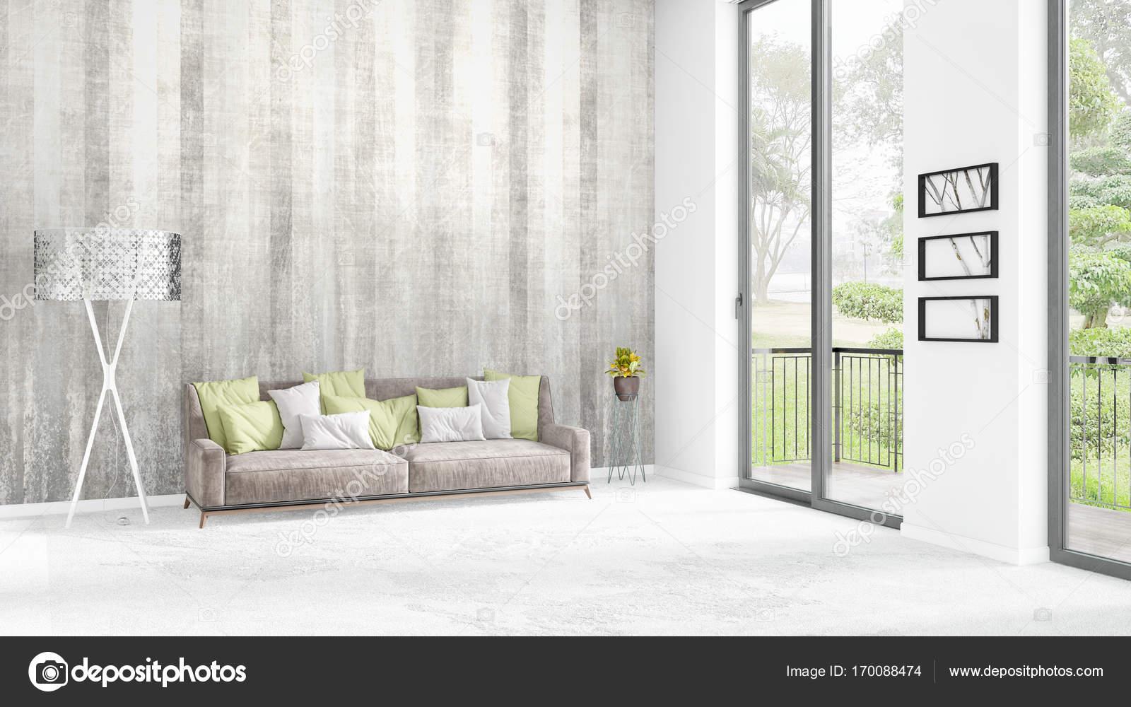 Brandneue Weiße Loft Schlafzimmer Minimalstil Interior Design Mit Exemplar  Wand Und Blick Aus Fenster. 3D