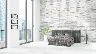 Brand new white loft bedroom minimal style interior design with copyspace wall and view out of window. 3D Rendering.