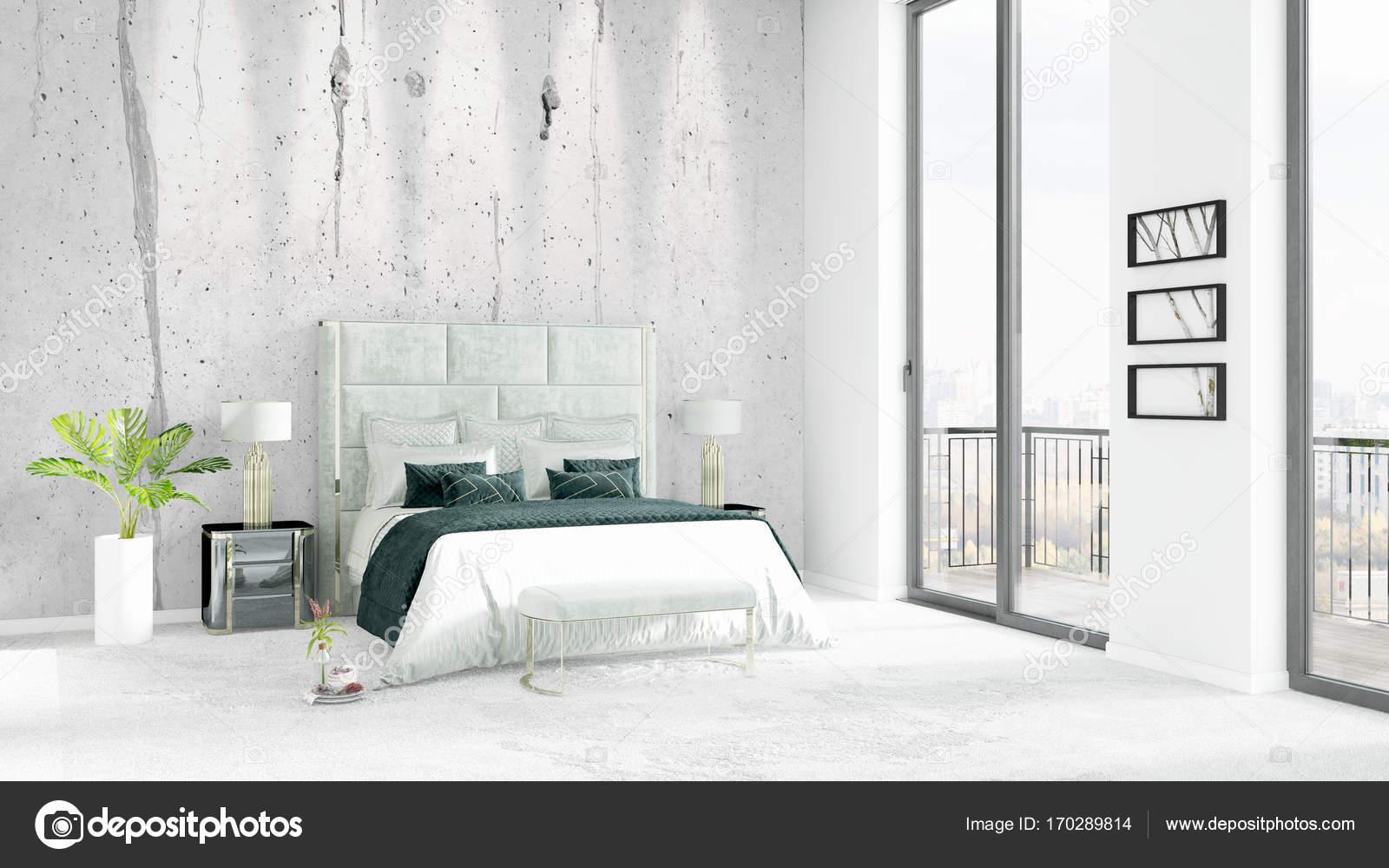 Camera Da Letto Stile Minimalista : Nuovissimo loft bianco camera da letto stile minimal design con