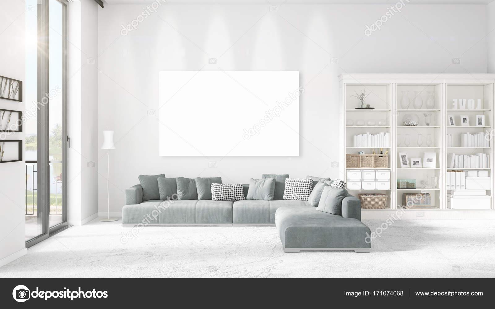 Vista panorámica en interior de loft con felpa divan, marco vacío y ...