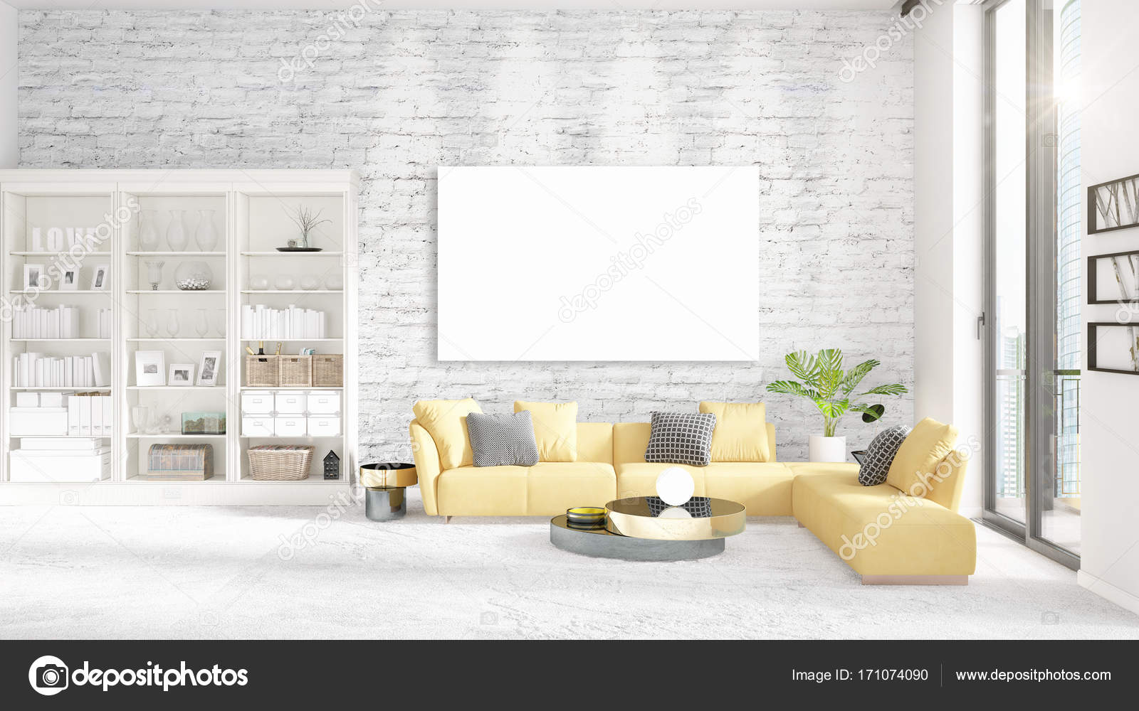 . Interior with view  luxury yellow home furnishings  empty frame and