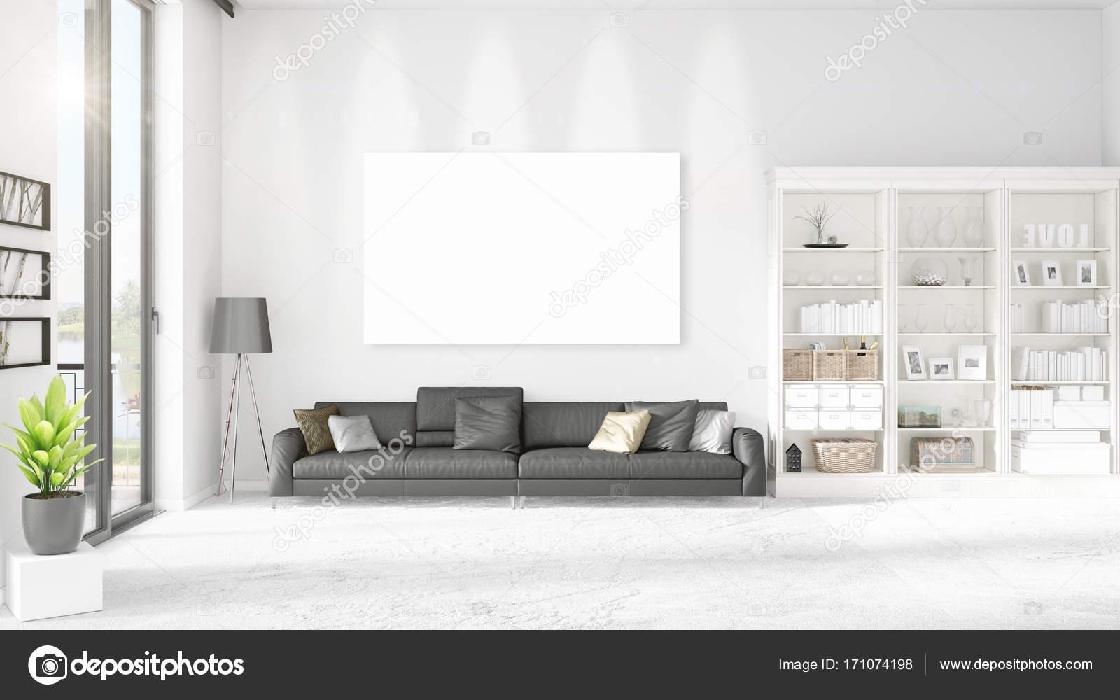 Interieur mit Panoramablick, schwarzem Leder Ottomane und leeren ...