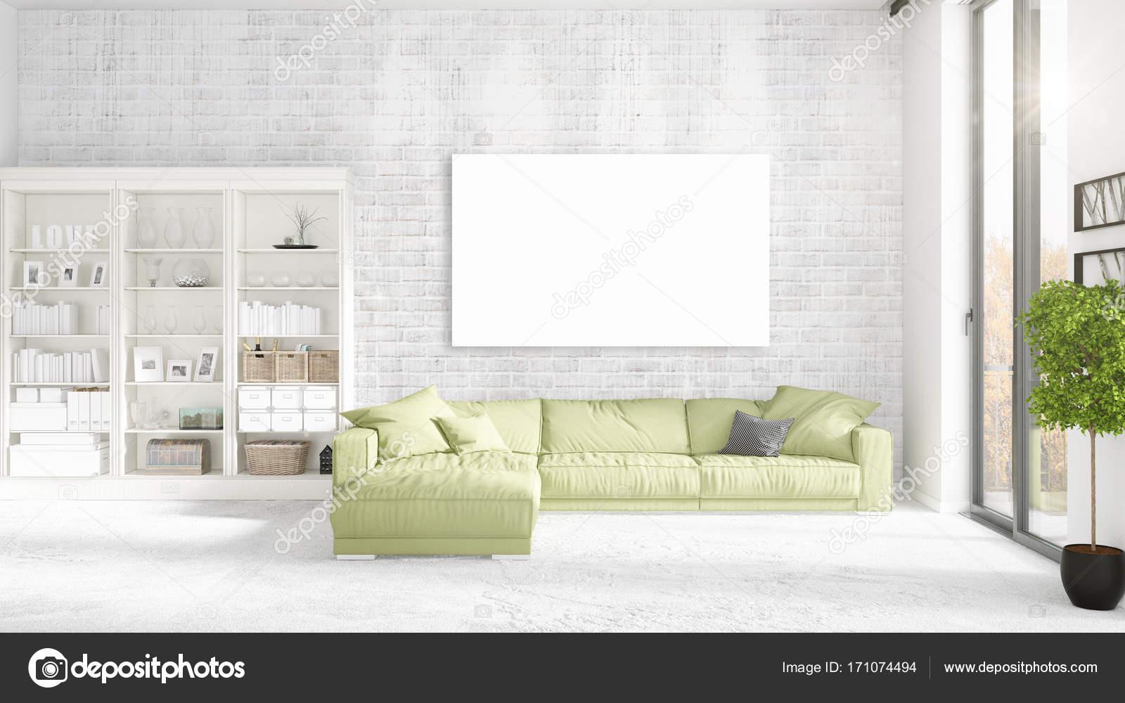 Loft-Interieur mit Panoramablick, grüne Plüsch Diwan, leeren Rahmen ...