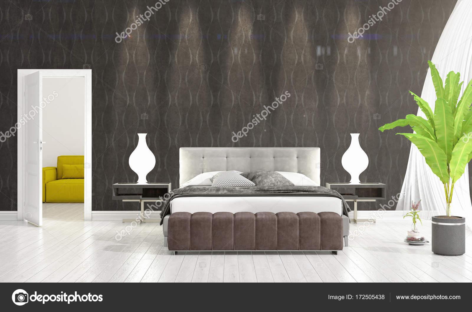 Modern interieur van slaapkamer in zwang met plant- en copyspace in ...