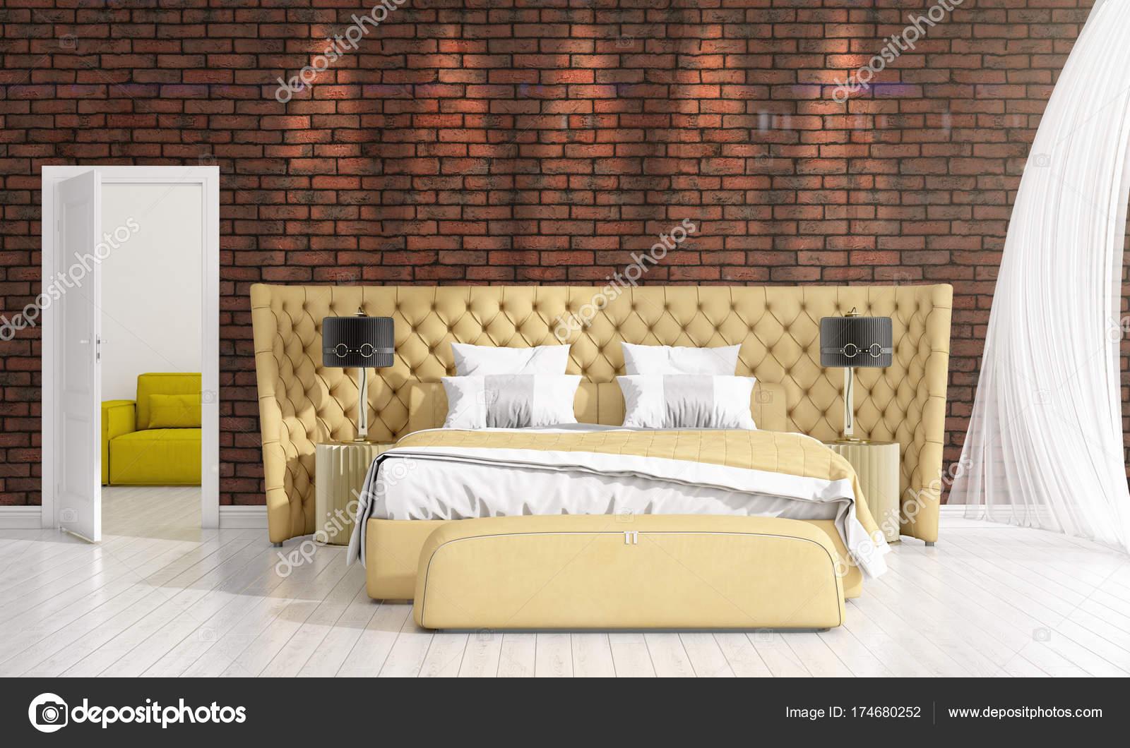 Arredamento moderno della camera da letto in voga con la pianta e ...
