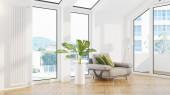 Moderní design interiér obývacího pokoje s krásným výhledem. 3D vykreslování