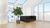 Moderno design soggiorno interno con splendida vista. Rendering 3d