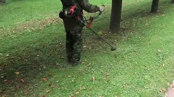zahradník seká sekačkou