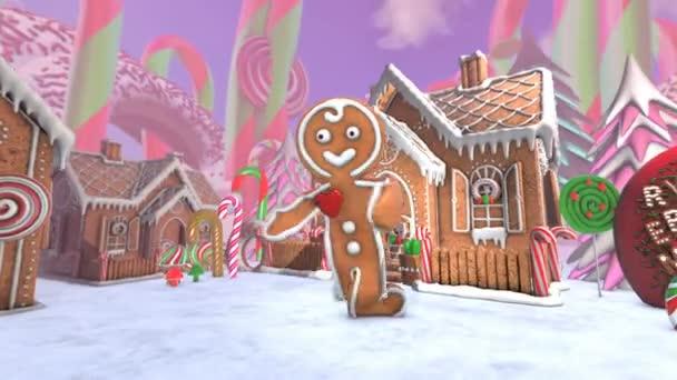 Cuki mézeskalács férfi salsát táncol egy édességboltban. Zökkenőmentes vicces karácsonyi animáció mézeskalács ház és édességek.