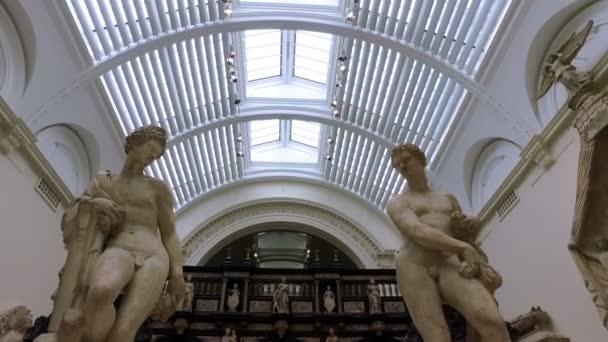 London. United Kingdom. August 2016. Visitors in Victoria and Albert museum. Slow motion.
