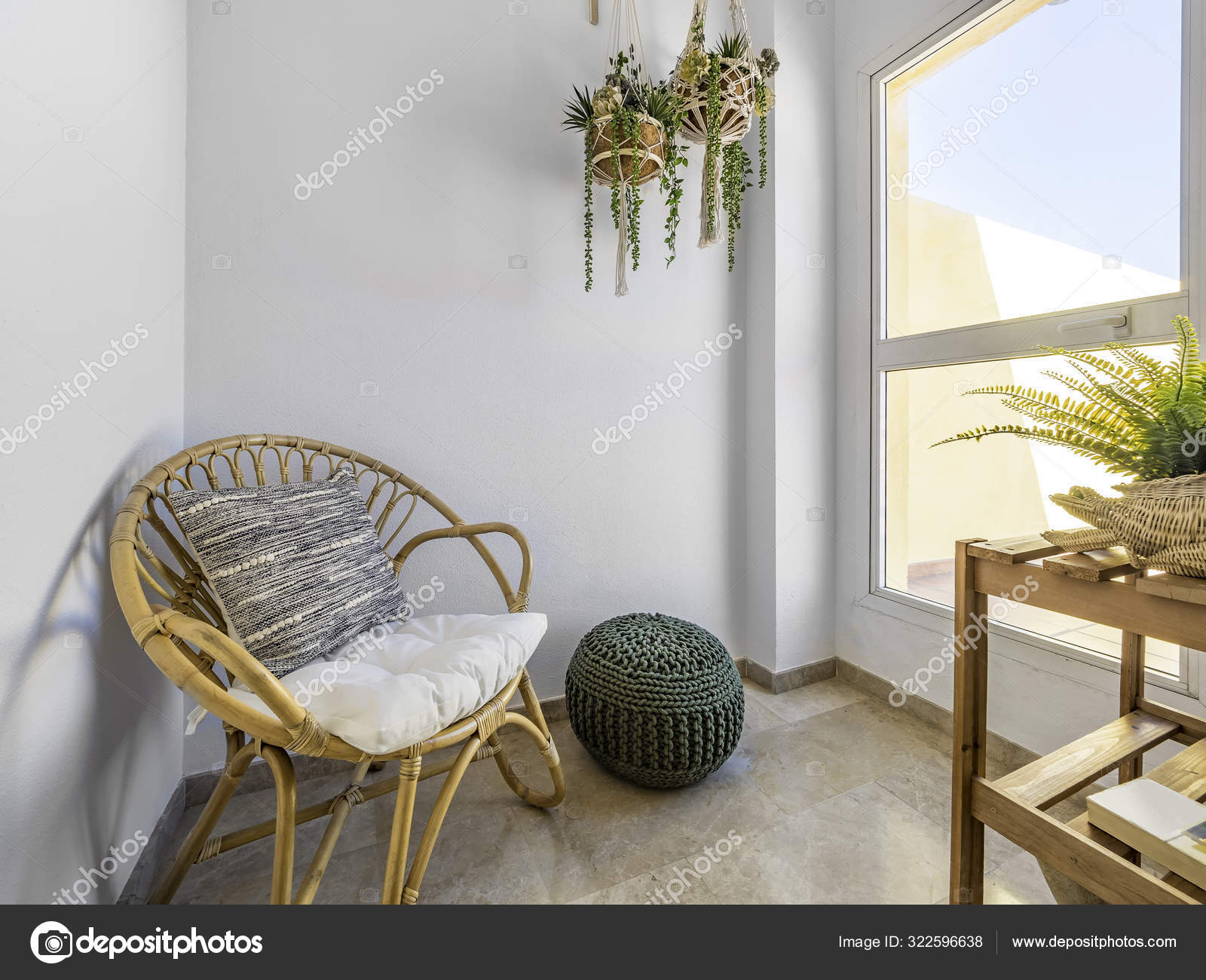 Room Interior Rattan Chair Cushion Macrame Hanging Plants Fiber Pouf Stock Photo Image By Elroce 322596638